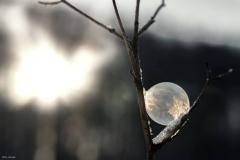 Gefrorene Seifenblase im Sonnenaufgang