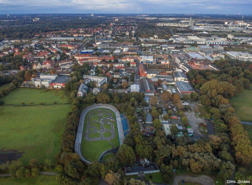 Radrennbahn Hannover aus der Luft